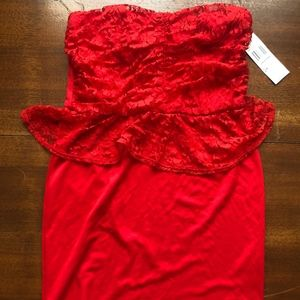 XL Red Strapless Lace Dress